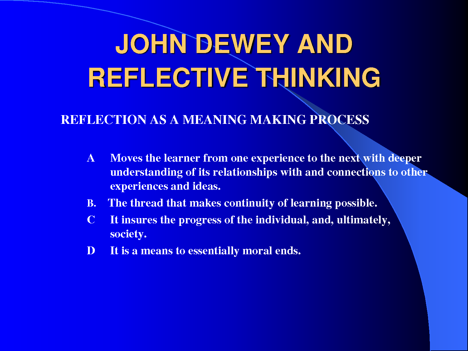 reflective thinking essay This is a presentation explaining the process of writing reflective essays it includes structuring the essay using a reflective model and suggestions for intr.